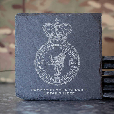 607 County of Durham Sqn Slate Coaster