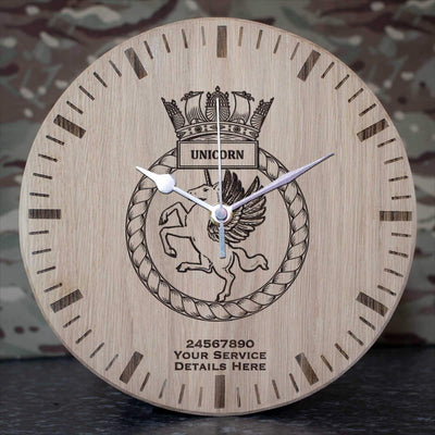 Unicorn Oak Clock