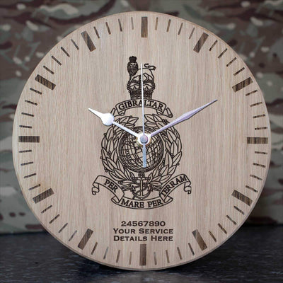 Royal Marines Globe and Laurel Oak Clock