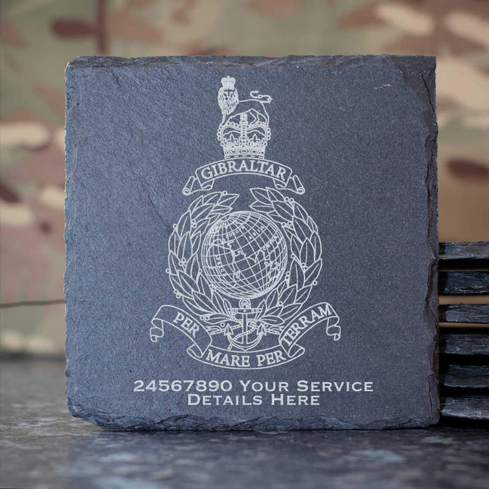 Royal Marines Globe and Laurel Slate Coaster