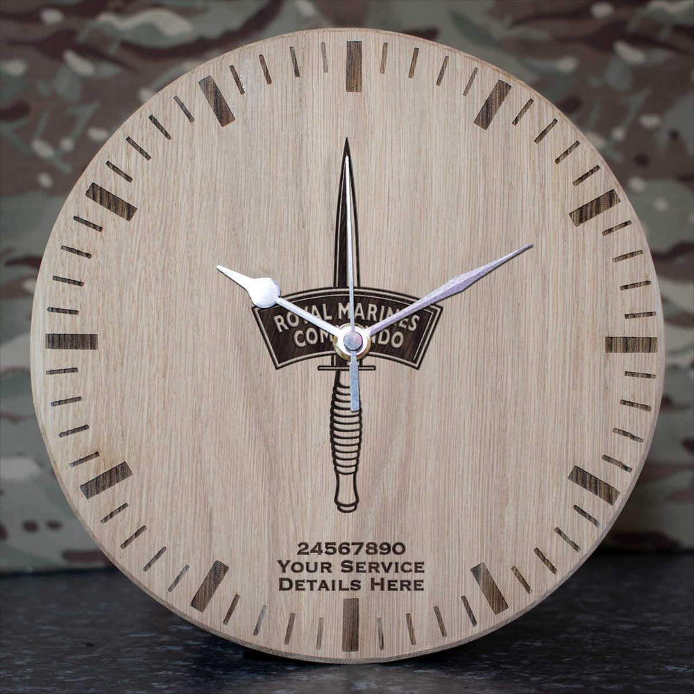 Royal Marines Dagger Oak Clock