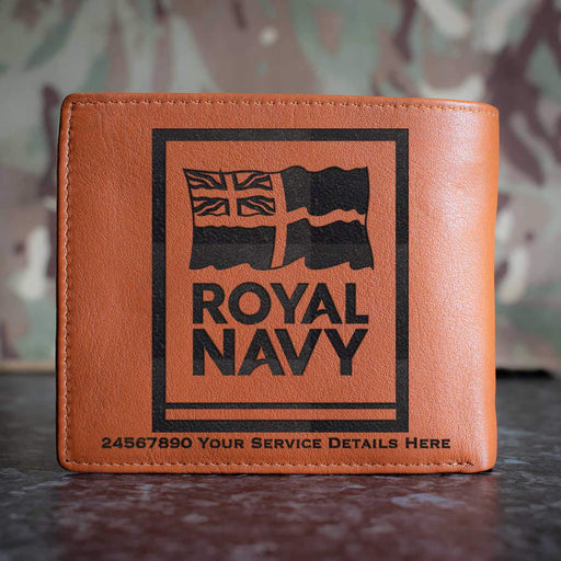 Navy Logo Leather Wallet