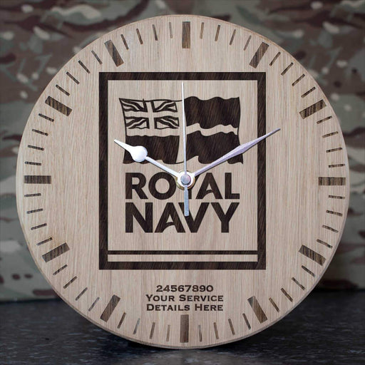 Navy Logo Oak Clock