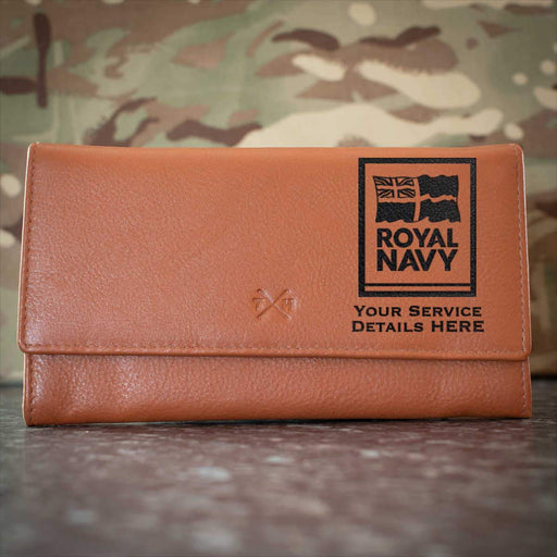 Navy Logo Leather Purse