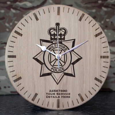 Wiltshire Police Oak Clock