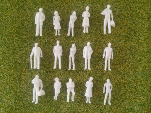 1:100 Scale Unpainted White Figures - Pack of 25, 50 or 100
