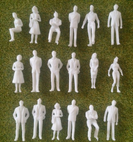 1:50 Scale Unpainted White Figures - Pack of 10, 25, 50 or 100