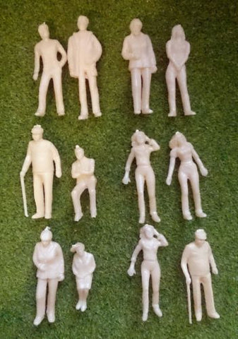 1:43 Scale (O Gauge Model Railway) Unpainted Figures - Pack of 10 or 25