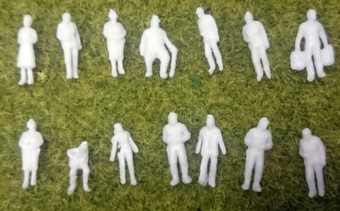 1:150 Scale (N Gauge Model Railway) Unpainted Figures - Pack of 25, 50 or 100