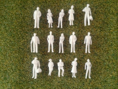 1:75 Scale OO Gauge Model Railway Unpainted Figures People - Pack of 25/50/100
