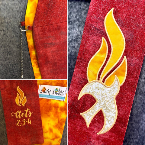 "1 Only! Ready to Ship- ""Wind & Flame"" Deacon Stole- Size: 26"" Sash / 27"" Tail"