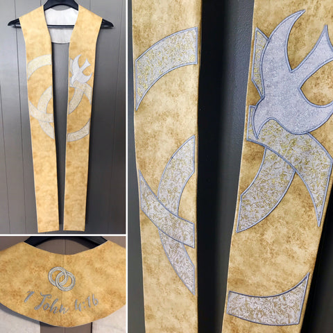 """United in Love"" Gold Marriage Ceremony Clergy Stole"