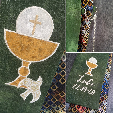"1 Only! Ready to Ship- ""Bread of Life"" Deacon Stole - Size: 26"" Sash / 26"" Tail"