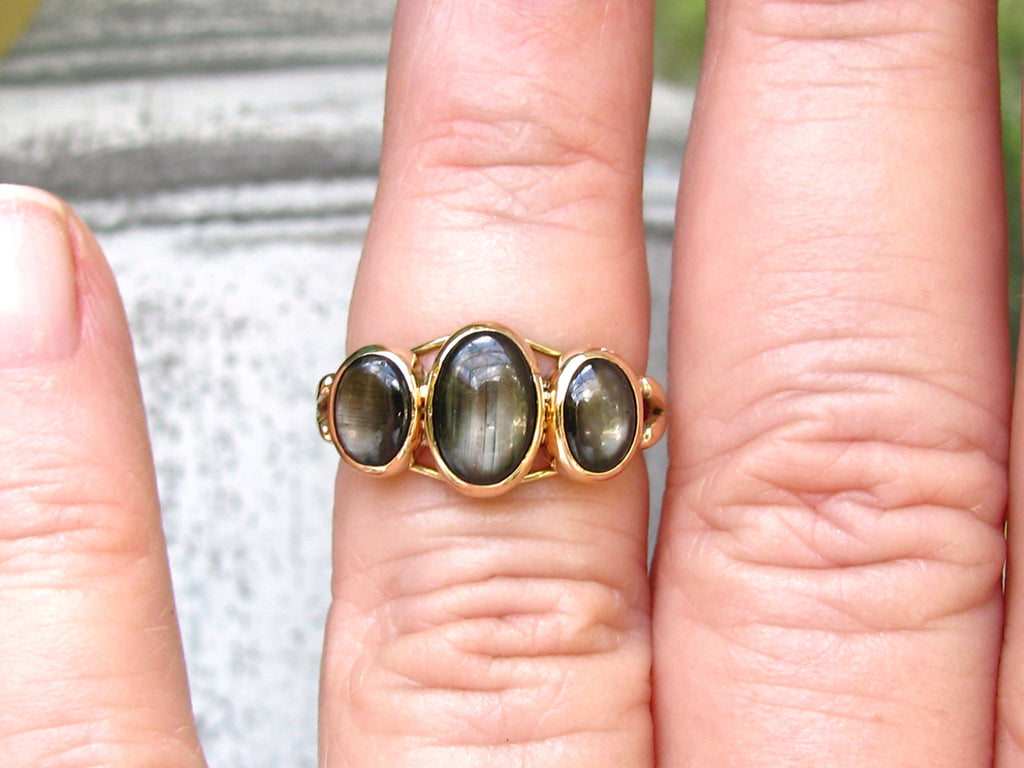 ... Antique Black Star Sapphire Engagement Ring Three Stone Wedding Ring  14K Yellow Gold Anniversary Ring Unique