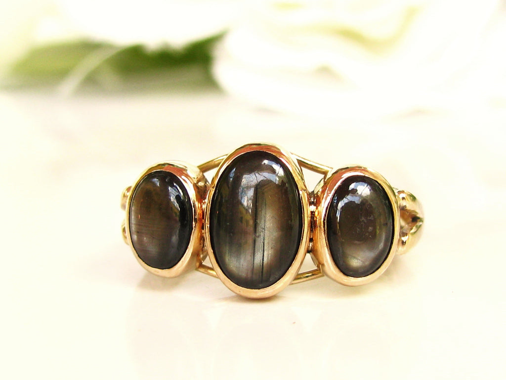 Antique black star sapphire engagement ring three stone wedding ring