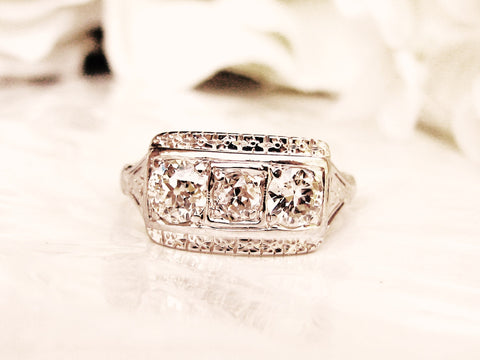Antique Art Deco Engagement Ring 0.60ctw Old Cut Diamond Wedding Ring 18K White Gold Orange Blossom Motif Three Stone Anniversary Ring Sz 5!