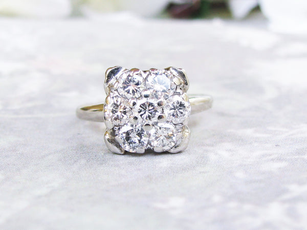 Vintage Art Crest Engagement Ring 14K White Gold Unique Square Vintage Engagement Ring 0.49ctw Diamond Wedding Ring Size 5