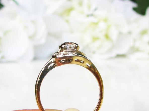Old Mine Cut Diamond Engagement Ring Diamond Swirl Wedding Ring 0.79ctw Diamond Bypass Ring 14K Two Tone Gold Ring