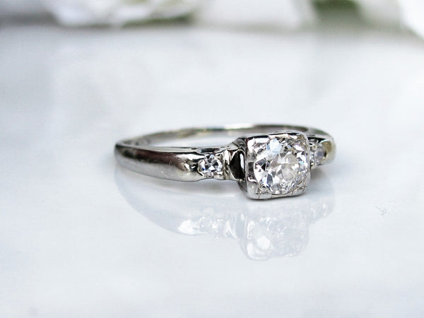 Art Deco Engagement Ring Transitional Cut 0.34ctw Diamond Wedding Ring 14K White Gold Antique Engagement Ring Size 5