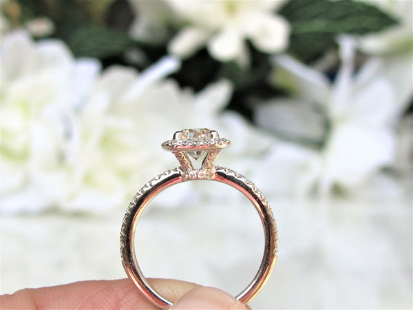 Vintage Transitional Cut Diamond Halo Engagement Ring 0.93ctw Diamond Engagement Ring 14K White Gold Diamond Wedding Ring & Appraisal