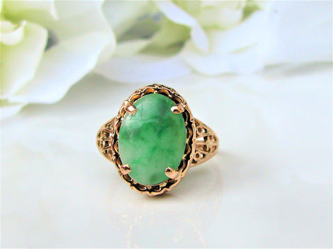 Vintage Oval Cabochon Nephrite Jade Ring 14K Yellow Gold Filigree Alternative Engagement Ring Unique Wedding Ring Size 5