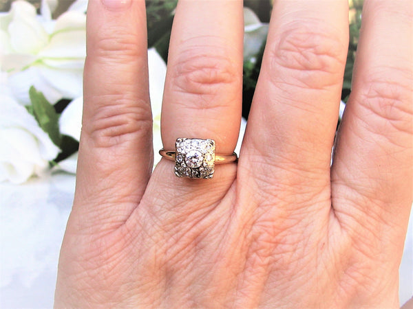 Art Deco Engagement Ring Vintage Orange Blossom 0.59ctw Pave' Diamond Wedding Ring 14K Two Tone Gold Diamond Cluster Ring Size 6