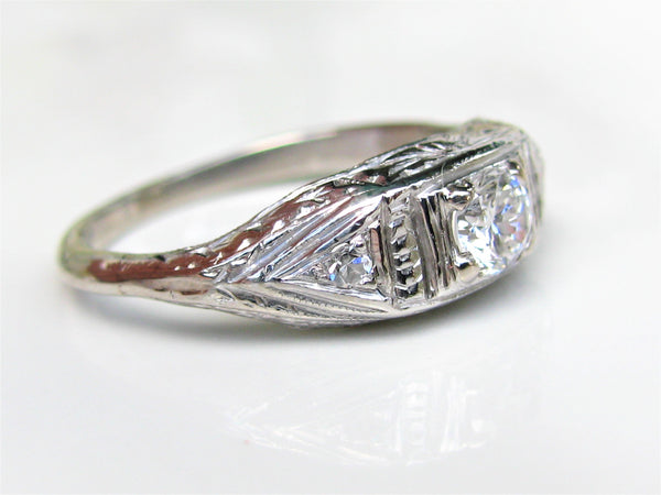 Art Deco Engagement Ring 0.31ctw Diamond & Platinum Etching Antique Engagement Ring Diamond Wedding Ring Size 6