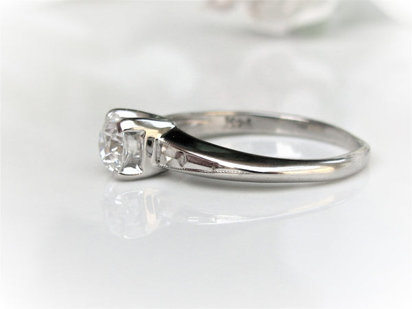 Art Deco Engagement Ring 0.44ct Old European Cut Diamond Ring 14K White Gold Vintage Diamond Wedding Ring Size 5.5