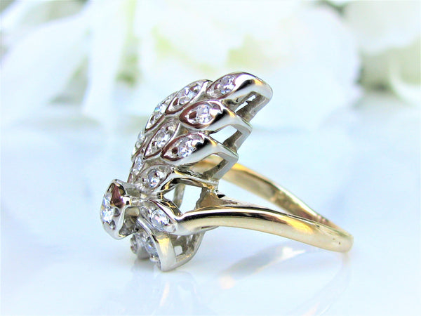 Vintage Engagement Ring 0.52ctw Diamond Peacock Style Wedding Ring 14K Two Tone Gold Diamond Cluster Anniversary Ring Size 5.5
