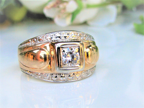 Art Deco Diamond Ring 0.40ct Old Cut Diamond Antique Unisex Diamond Wedding Ring 10K Two Tone Gold Men's Pinky Ring Size 9