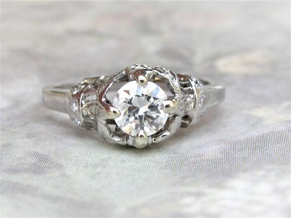 Antique Edwardian Engagement Ring 0.50ct European Cut Diamond Filigree Engagement Ring Platinum Antique Diamond Wedding Ring