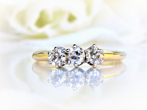 Antique Engagement Ring 0.45ctw Old Mine/European Cut Three Stone Diamond Wedding Ring 14K Two Tone Gold Diamon Anniversary Trilogy Ring