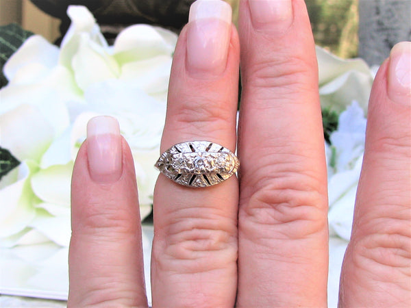 Antique Art Deco Engagement Ring 0.24ctw Old Mine Cut Diamond Wedding Ring 14K White Gold Orange Blossom Motif Three Stone Anniversary Ring