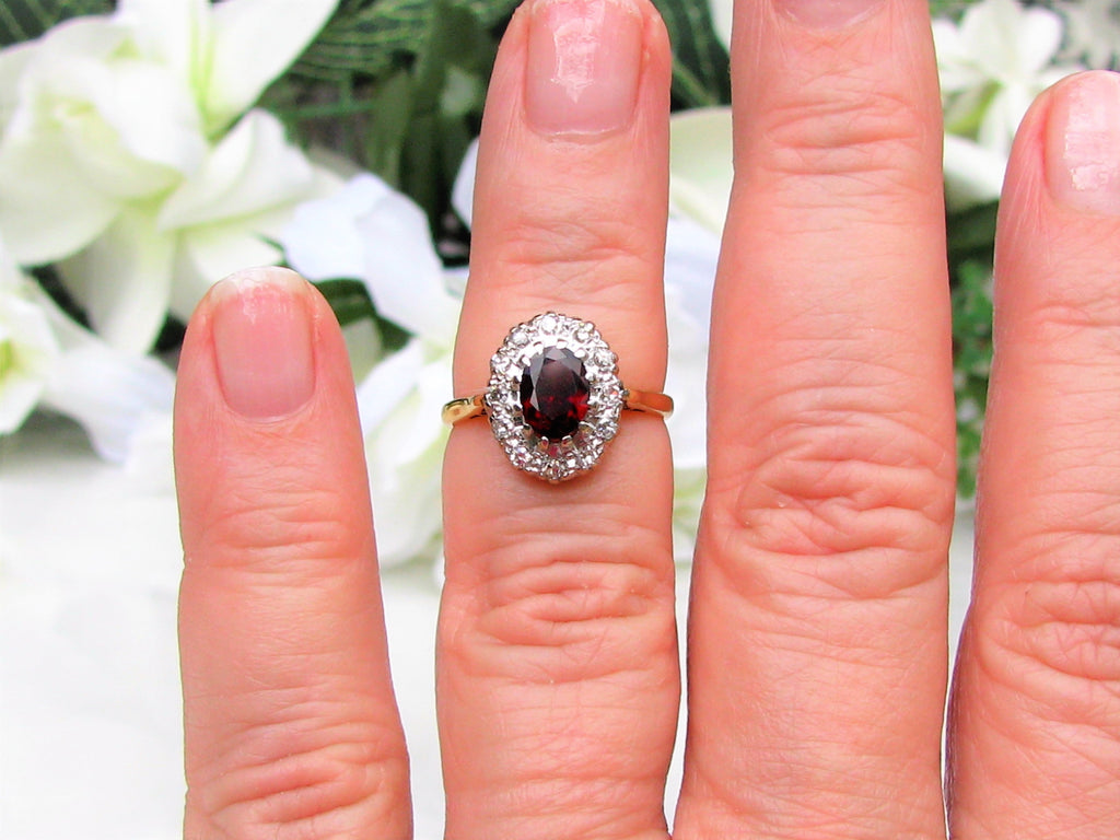 Vintage British Garnet Diamond Halo Ring 1.21ct Garnet Alternative ...