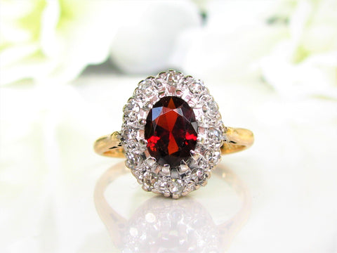 Vintage British Garnet Diamond Halo Ring 1.21ct Garnet Alternative Engagement Ring 18K Two Tone Gold Ring January Birthstone Ring