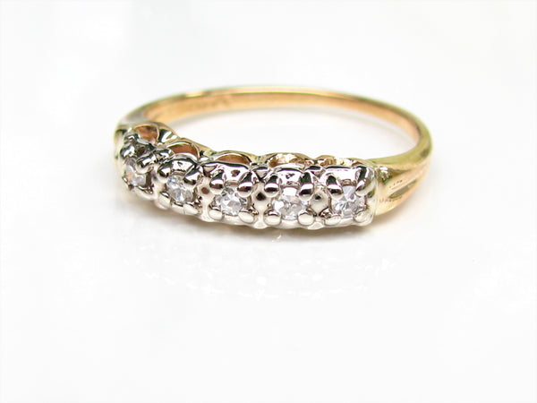 Vintage Ladies Diamond Wedding Ring 0.15ctw Diamond Wedding Band 14K Two Tone Gold Diamond Anniversary Ring Gold Stacking Ring Size 5
