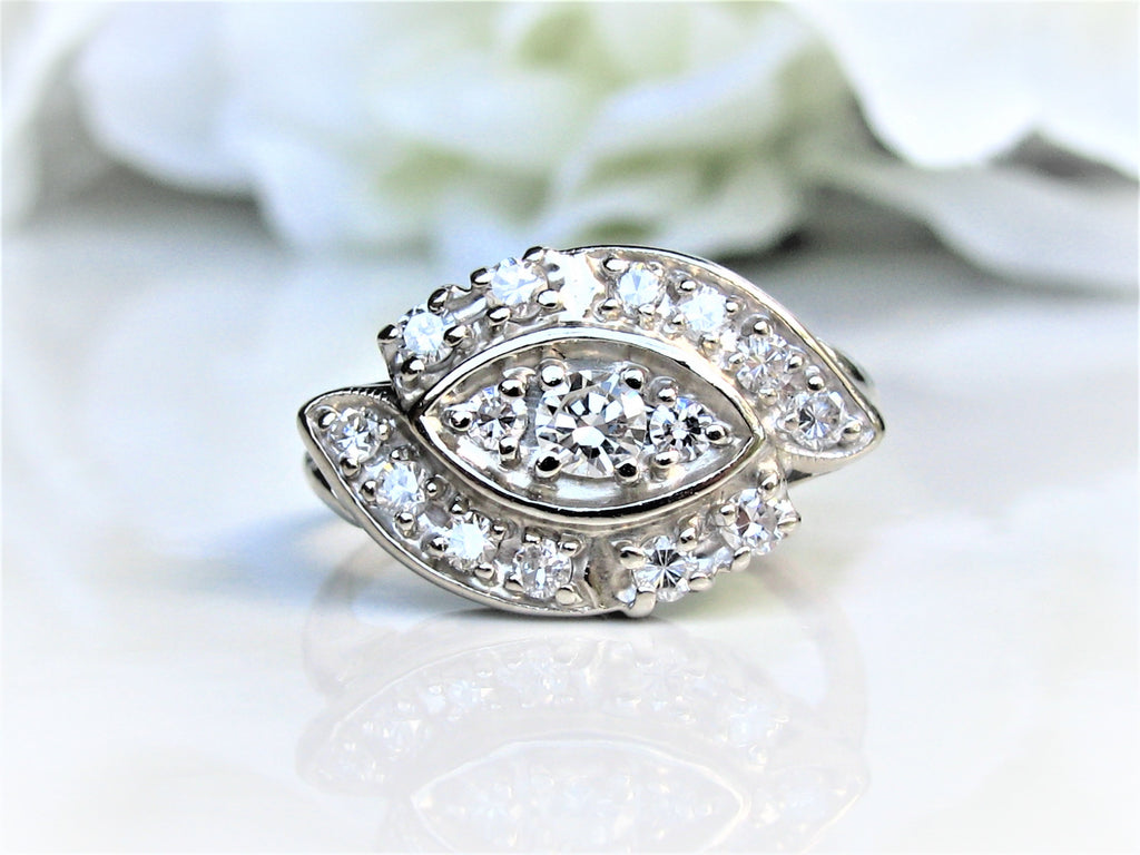 Unique Vintage Engagement Ring 0.88ctw Diamond Cluster Cocktail Ring 14K  White Gold Wavy Diamond Bypass Anniversary Wedding Ring
