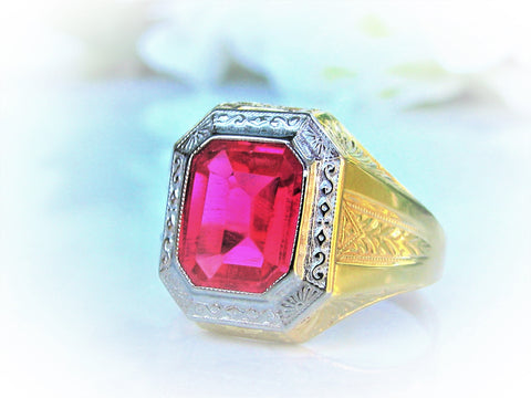 Antique Art Deco Ostby Barton Maltese Cross Ring Rare Historical OB Synthetic Ruby Ring 10K Two Tone Gold Antique Men's Wedding Ring