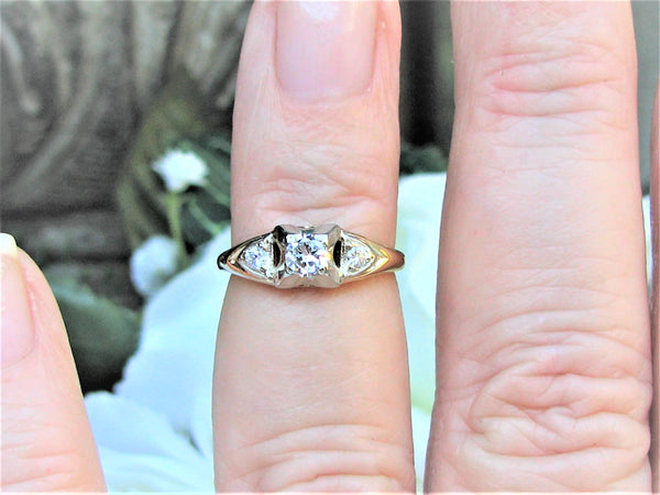 Art Deco Engagement Ring 0.26ctw Petite Diamond Wedding Ring 14K Two Tone Gold Vintage Engagement Ring Bridal Jewelry