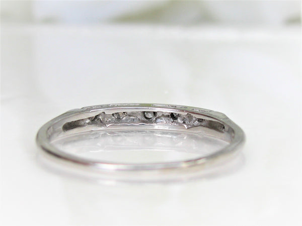 Vintage Platinum Diamond Wedding Band Art Deco Thin Wedding Ring Bridal Stacking Ring Five Diamond Anniversary Ring