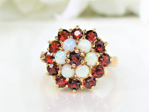 Vintage Garnet & Opal Ring Alternative Engagement Ring Brtish 9K Yellow Gold Vintage Bridal Jewelry Floral Cluster Halo Wedding Ring