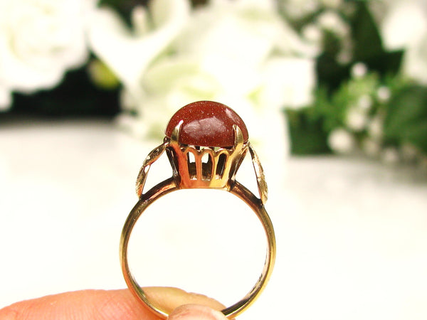 Antique Cabochon Goldstone Ring 14K Yellow Gold Crown & Leaf Setting Victorian Ring Unique Antique Engagement Ring Size 5.5!