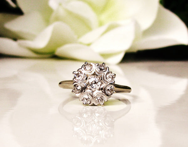 Antique Engagement Ring 0.46ctw Old Mine Cut Diamond Cluster Ring 14K White Gold Daisy Diamond Wedding Ring Size 8!