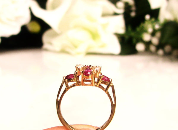 14K Yellow Gold Vintage Fancy Cut Spinel and Seed Pearl Ring Bridal Jewelry!