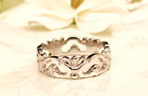 Vintage Filigree Wedding Band 14K White Gold Wedding Ring Edwardian Style Ladies Wide Wedding Band Size 6