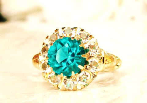 Antique Engagement Ring 2.37ctw Green & Clear Glass Halo Ring Imitation Emerald Alternative Engagement Ring 10K Gold May Birthstone Ring