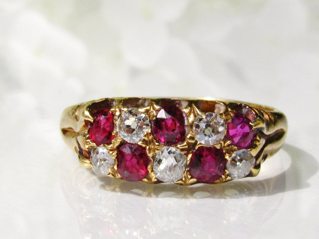 Antique Engagement Ring Old Mine Cut Diamond Ruby Ring Antique Diamond Wedding Band 18K Gold Antique Diamond Wedding Ring Size 6!