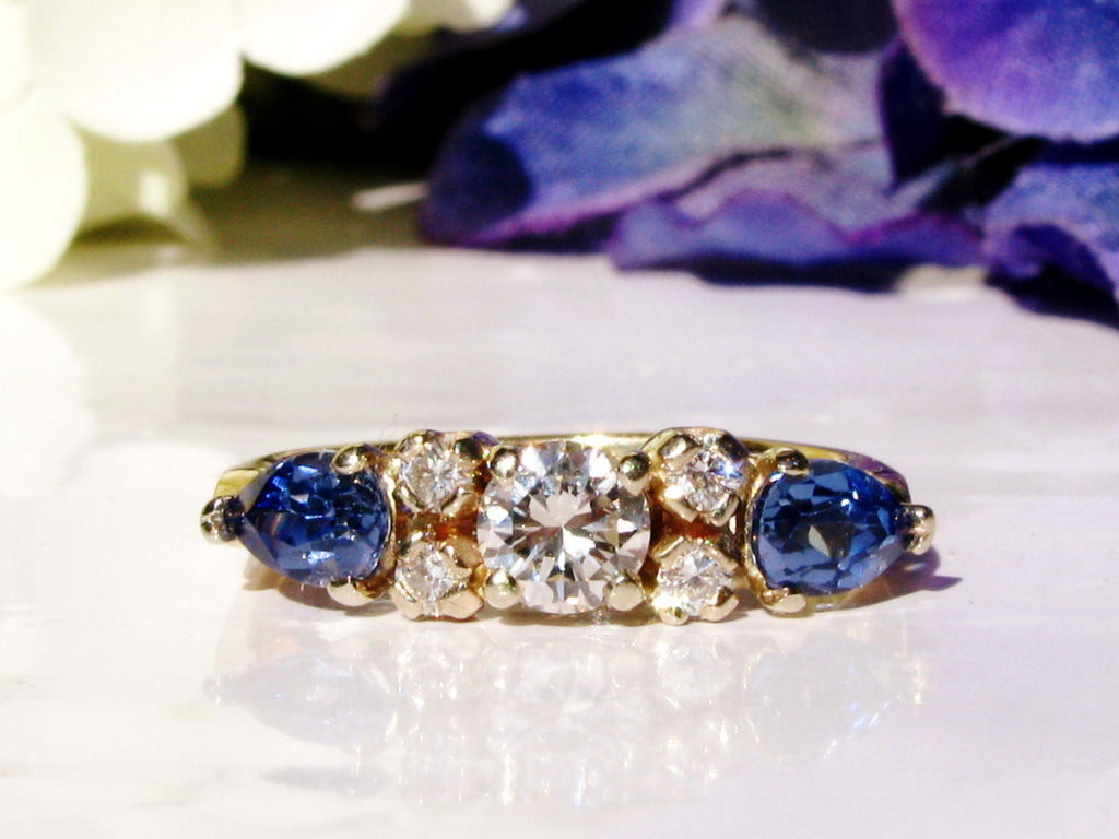 engagement sapphire ring yellow round rings vintage bands diamonds gold brilliant diamond cut two with
