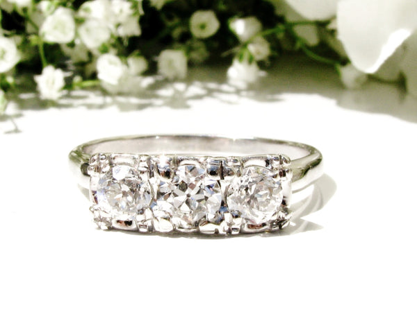 Antique Three Stone Engagement Ring 0.76ctw European Cut Diamond Wedding Ring 14K White Gold Anniversary Ring Art Deco Engagement Ring Sz 7!