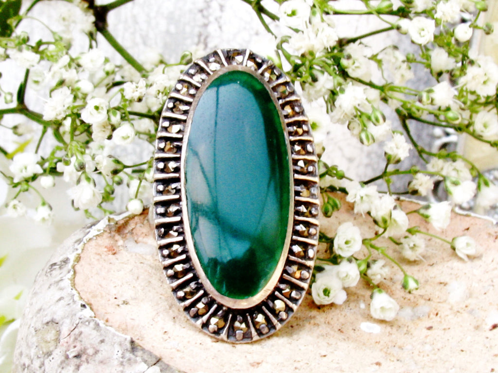 Elegant Art Deco Chrysoprase & Marcasite Navette Ring Antique Chrysoprase Sterling Ring Unique Green Chalcedony Ring Size 6!
